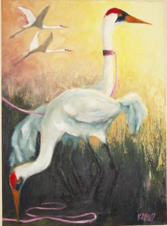 Crane With Ribbon Leash, oil,