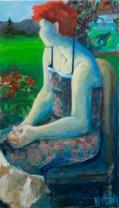 "Margaret Waits, oil, 18x32"", $850"