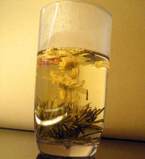 the most delicious and beautiful tea was served. this started out as a little ball at the bottom of the glass but within seconds the hot water expanded it into this amazing flower.