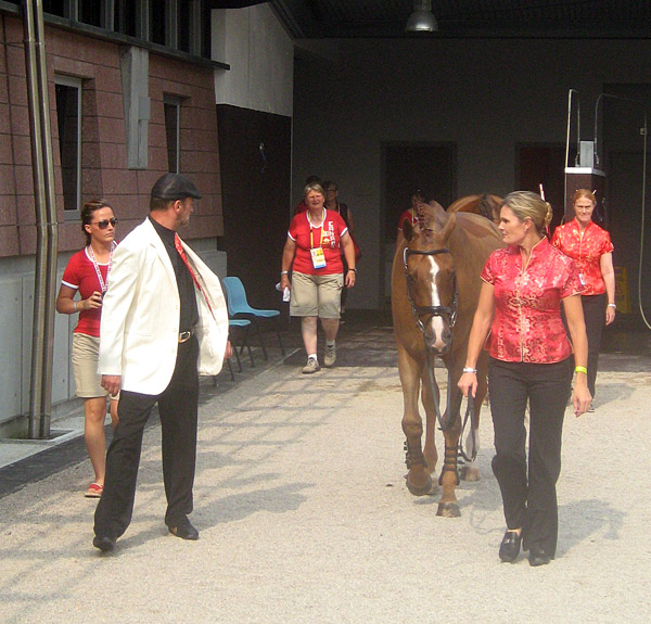 it's show time! (leaving the barn for the jog)
