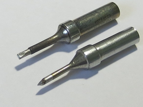 Original and Reshaped Soldering Iron Tips