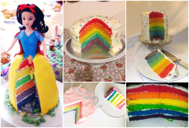 A super easy tutorial to make a stunning and delicious Six Layer Rainbow Cake! Perfect for childrens (and big kids!) birthday parties, it's made with a failproof Victoria Sponge mixture and cream cheese frosting. Easy 6-Layer Rainbow Cake - Step by Step