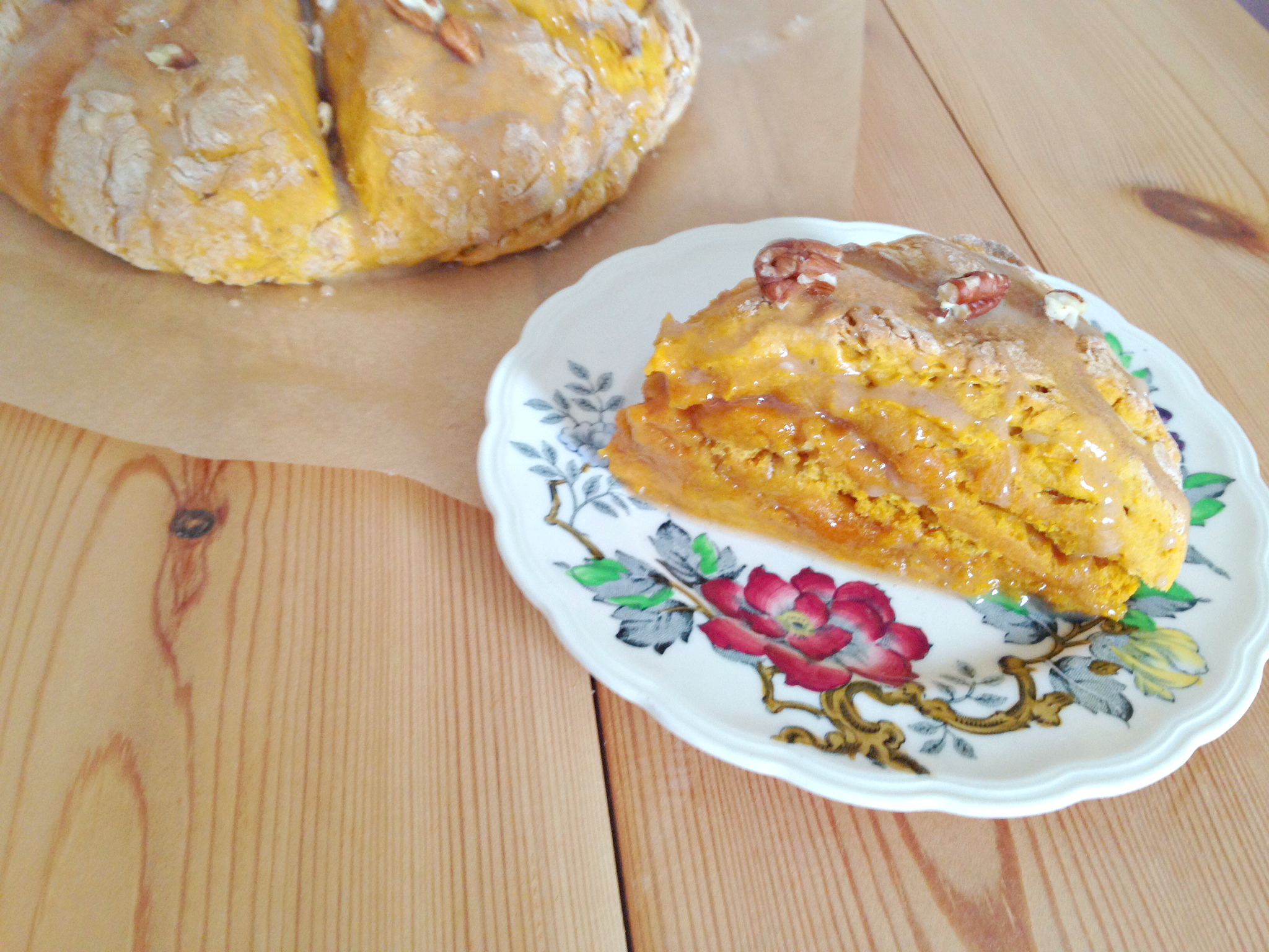 Pumpkin Pecan Scones with a Maple Glaze- I can't wait to make these every Autumn!