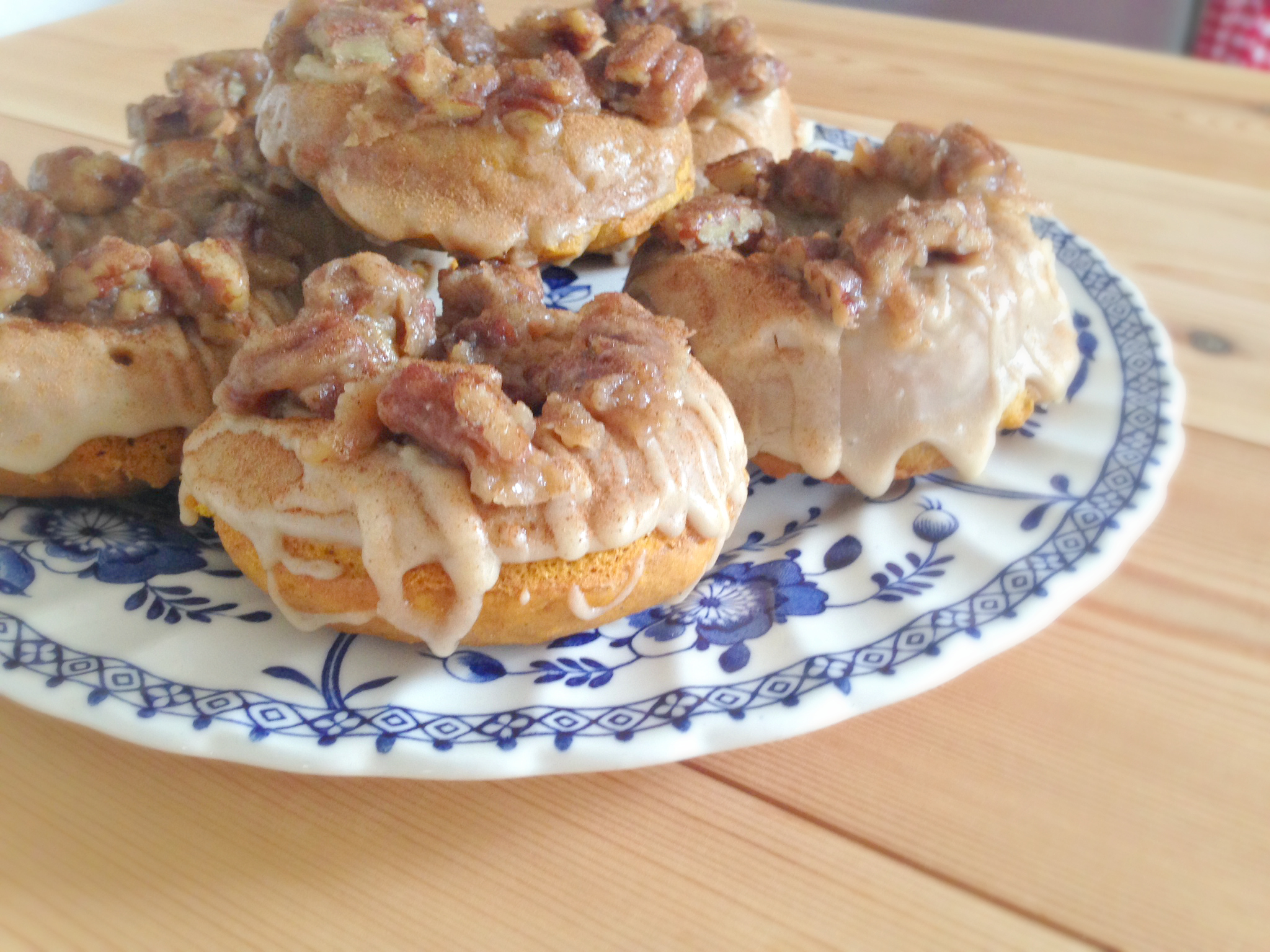 Baked Pumpkin Doughnuts with a Maple Glaze and Buttered Pecans | kerrycooks.com
