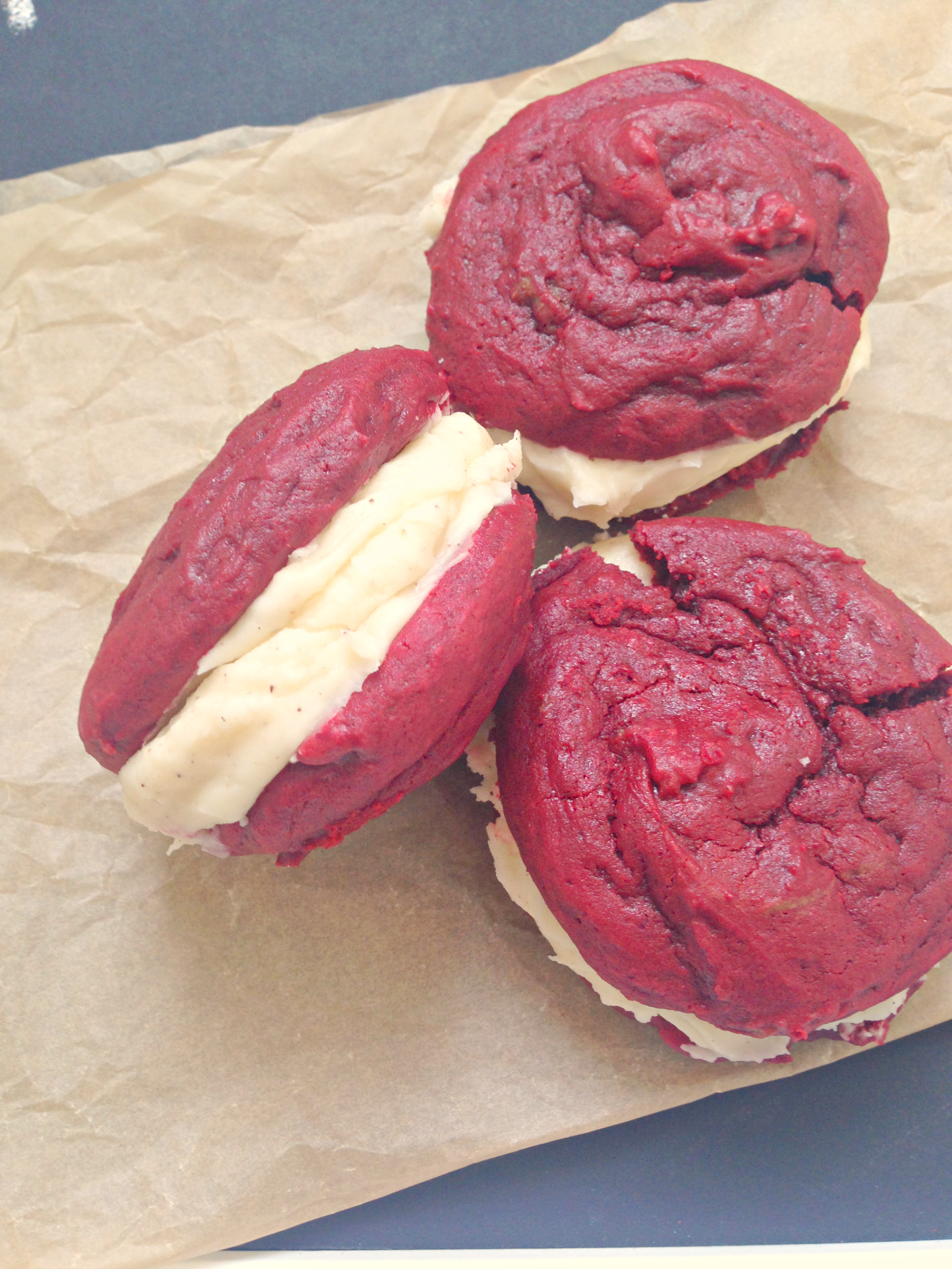 Red Velvet Whoopie Pies - omg the cream cheese frosting though | kerrycooks.com