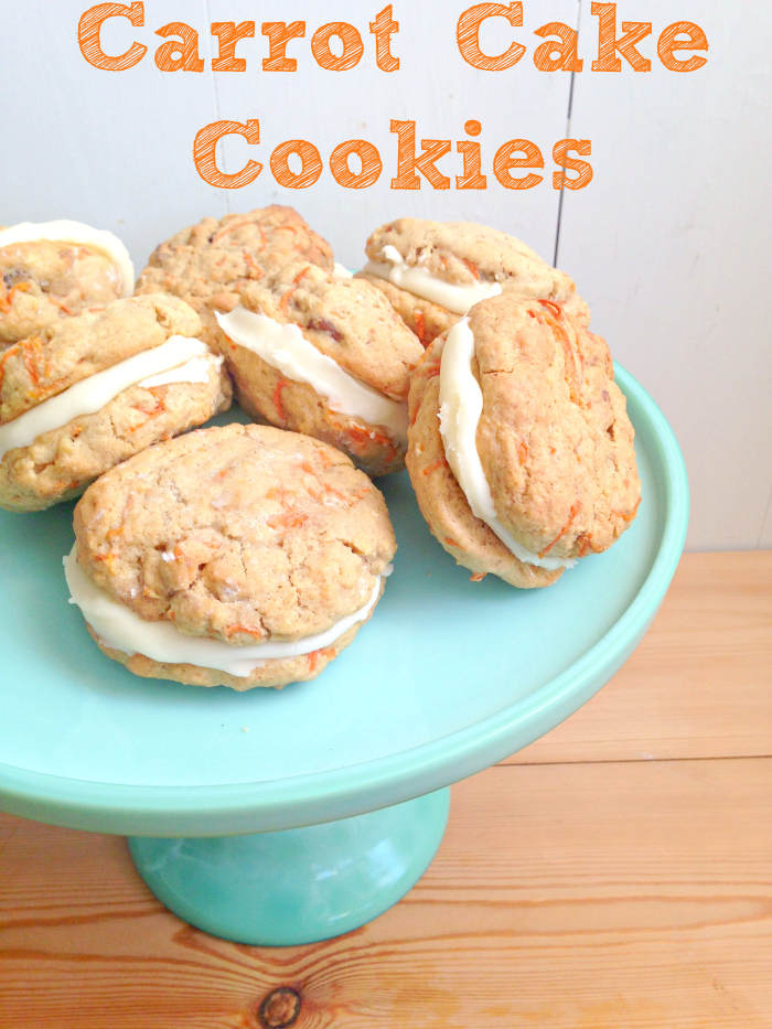 These Carrot Cake Cookies with Cream Cheese Frosting are just perfect for #Easter! #Spring! baking!