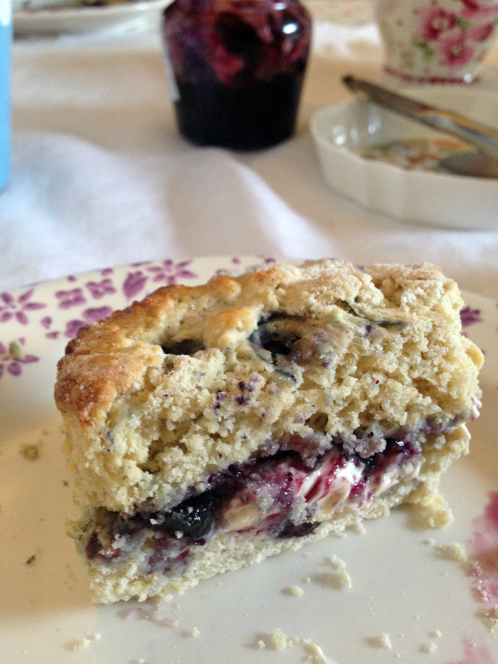 Homemade Blueberry Scones with clotted cream and blueberry jam!