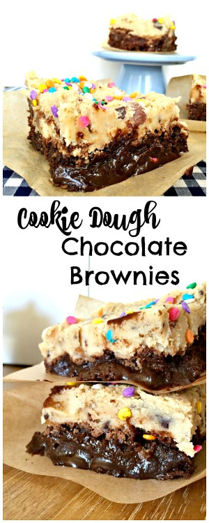 Rich and fun Cookie Dough Chocolate Brownies! Kids will love these (but so will adults). You have to try these!