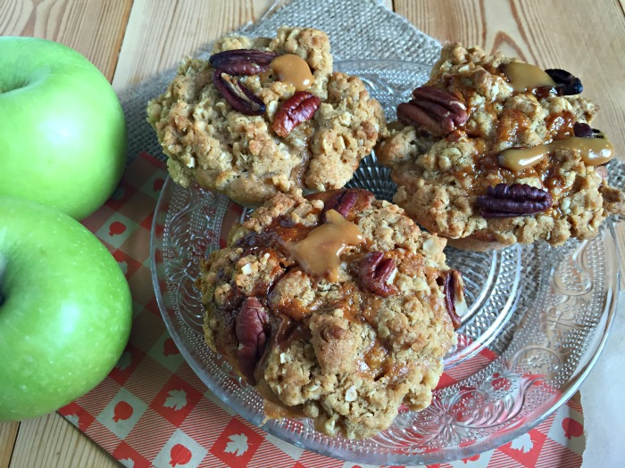 Caramel Apple Muffins with Oaty Streusal Topping - perfect for autumn and so tasty! These come together in no time and freeze perfectly