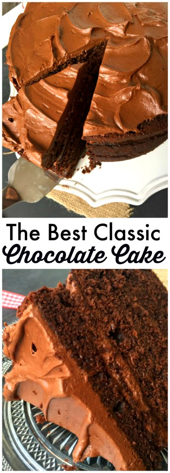 Delicious classic simple Chocolate Cake recipe made only with the ingredients in your cupboard! The BEST simple cake with gorgeous chocolate frosting