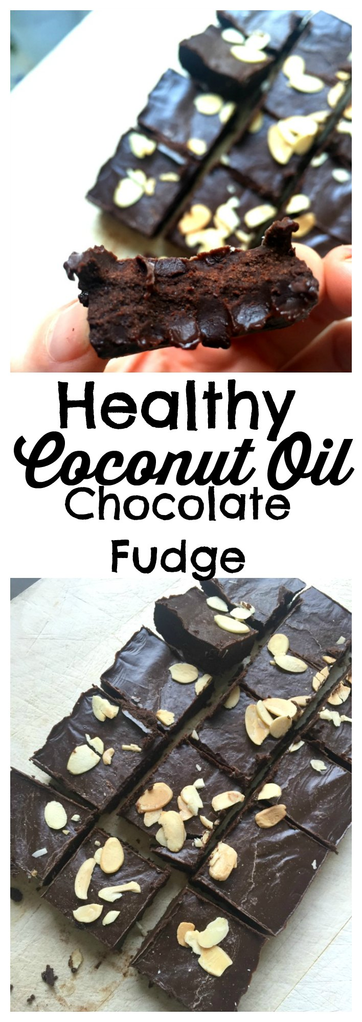 3 Minute Healthy Chocolate Fudge - delicious healthy fudge made with coconut oil and cocoa powder, ready in under an hour!