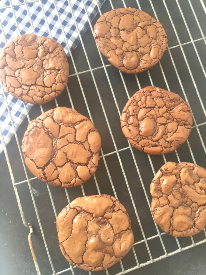 These addictive Easy Chocolate Brownie Cookies are little fudgy chocolate brownies - in cookie form! So easy, quick and simple to make, with a dense chocolate centre and a crackly top