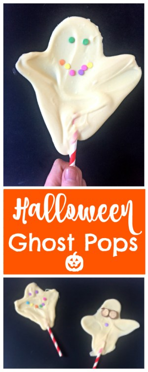 These Easy Halloween Chocolate Ghosts, made with white chocolate are a cute and fun Halloween activity for kids! Make your ghosts scary or friendly with sprinkles and sweets for faces