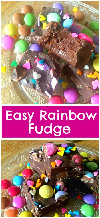 🌈 Easy Rainbow Chocolate Fudge recipe with only three ingredients that's ready in just 10 minutes! So easy, anyone can make it! Get the recipe at KerryCooks.com! 🌈
