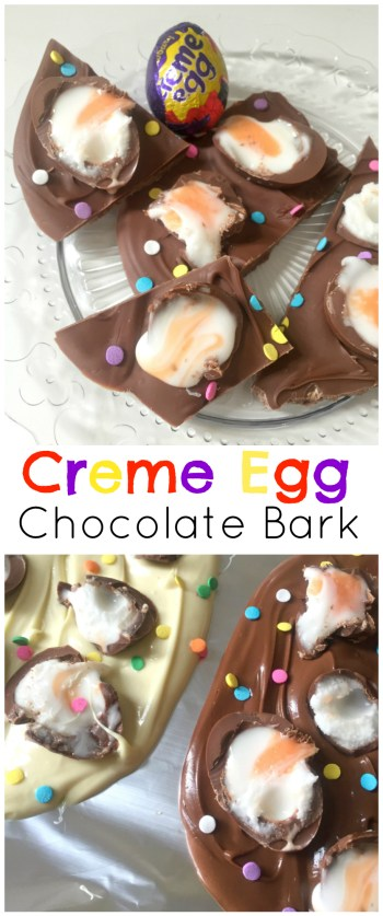 Ridiculously simple and easy Creme Egg Chocolate Bark with only TWO ingredients (three if you add sprinkles!). It doesn't get any easier or yummier for Easter than this no bake recipe.