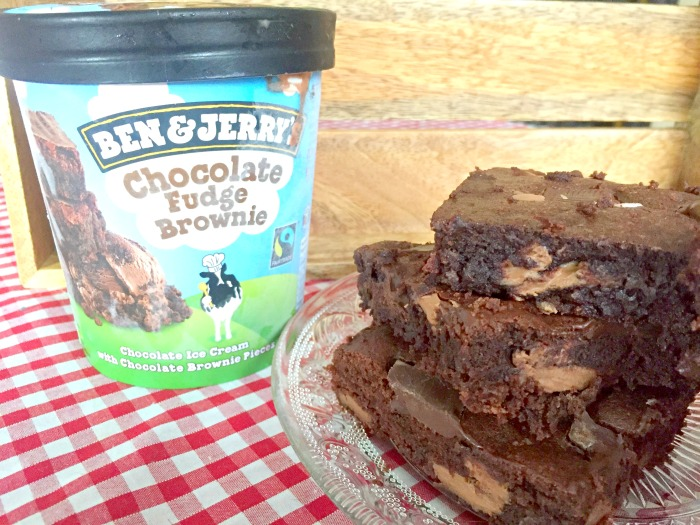 The recipe for the Brownies that are inside Ben and Jerry's Chocolate Fudge Brownie ice cream! So so good - and easy to make too! Ben and Jerry's Chocolate Fudge Brownies