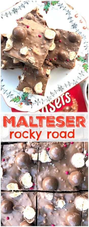 Malteser addict? You HAVE to try these easy NO BAKE Malteser Rocky Road with marshmallows, biscuits, malteser chocolate and .... lots of maltesers!
