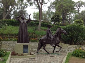 Statues in the park in Barranco