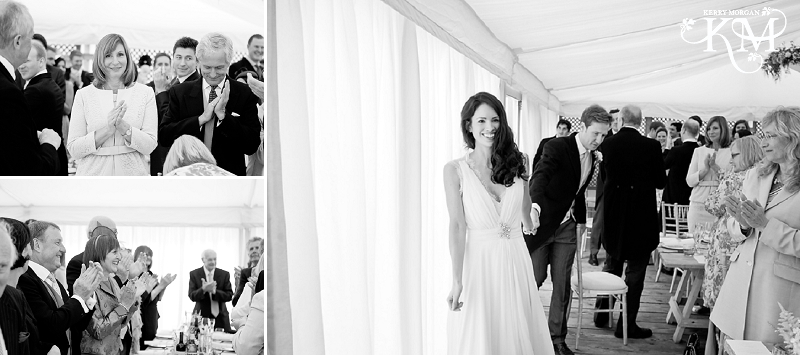 bride and groom enter Gallivant hotel wedding
