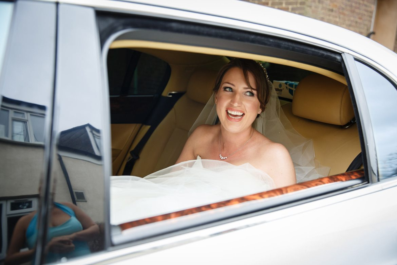 bride arrives in car