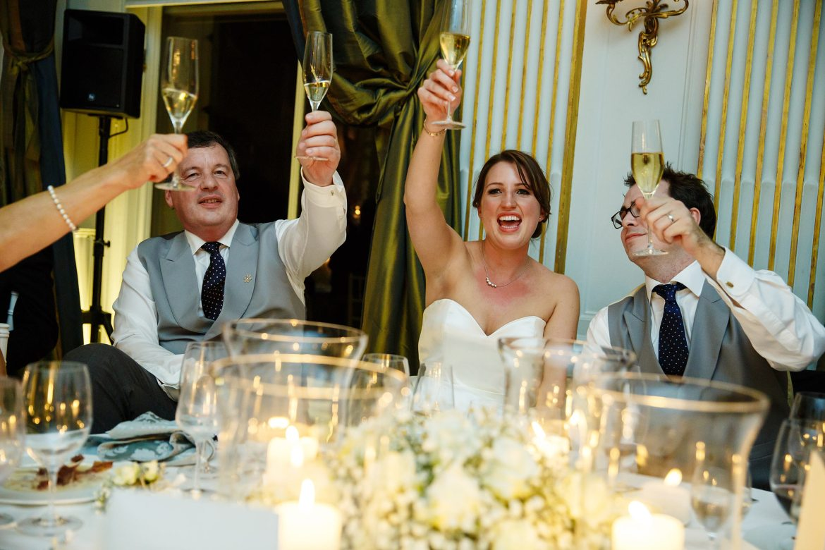 cheers at Cliveden House Wedding