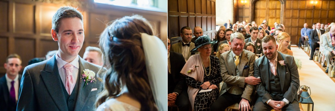 2 pictures of the civil ceremony at Hengrave Hall. The first image is the groom Jack looking at his bride and the second the grooms father passing the best man a tissue.