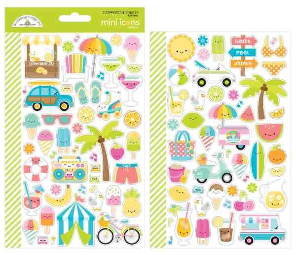 Doodlebug Design 6x12 Mini Icon Stickers Sweet Summer