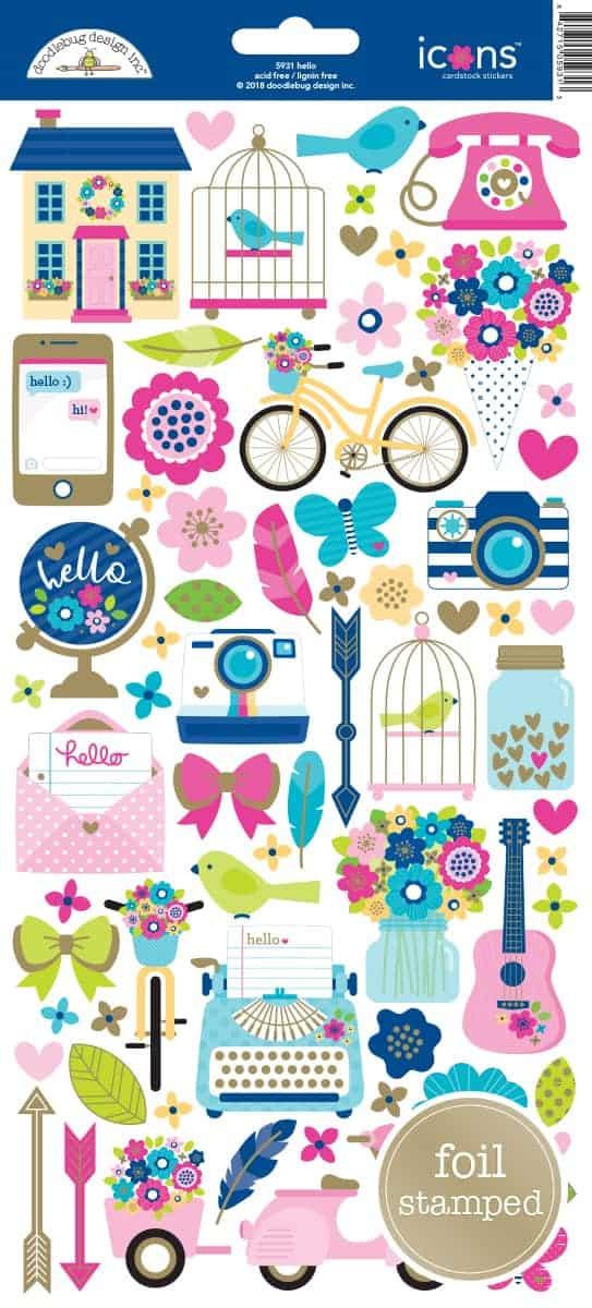Doodlebug Design Icon Stickers Hello