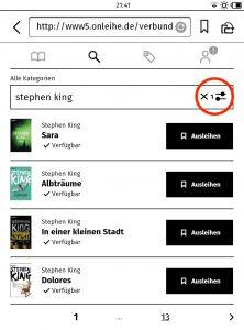 Screenshot 5: Trefferliste (Gespeicherte Sucheinstellungen lassen sich am rot umrandeten Symbol erkennen.)