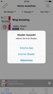 Screenshot 1: Readerauswahlmenü der neue Onleihe-App