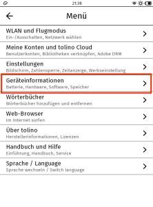 """Screenshot 7: Unter """"Geräteinformationen"""" kann das Update manuell angestoßen werden."""