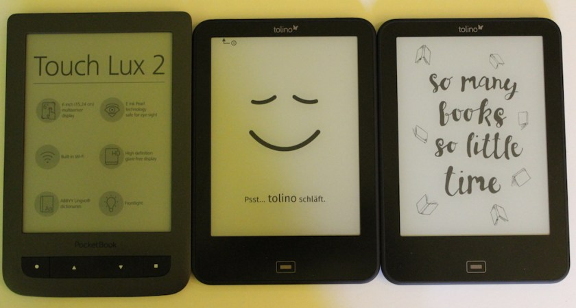 Mittlerweile habe ich eine kleine eReadersammlung: Pocketbook Touch Lux 2, Tolino Vision 2, Tolino Vision 3 HD (von links nach rechts)