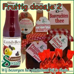 Kerstpakket voor de vrouw Fruitig doosje 2 - streek kerstpakket gevuld met huisgemaakte streekproducten - www.kerstpakkettencadeaubon.nl