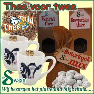 Kerstpakket voor de vrouw Thee voor twee - streekpakket gevuld met diverse soorten thee en boeren streekproducten - www.kerstpakkettencadeaubon.nl