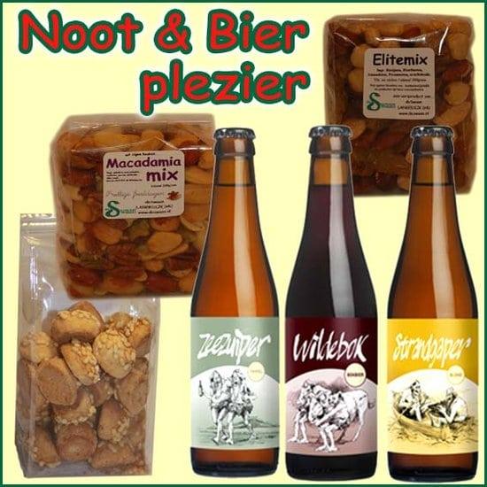 Kerstpakket noten en bier - Streekpakket gevuld met lokaal bier en noten streekproducten - Streekcadeau Specialist - www.kerstpakkettencadeaubon.nl