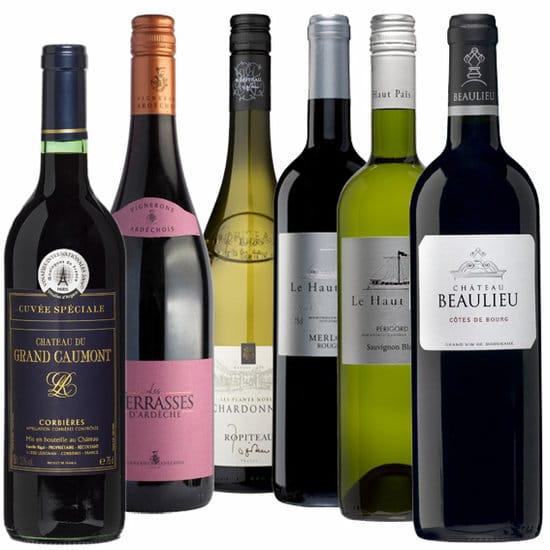 Wijnpakket Rondje Frankrijk 6 - Wijngeschenk Specialist - Wijngeschenk gevuld met luxe wijnen uit Frankrijk - Kerstpakket wijn - www.kerstpakkettencadeaubon.nl