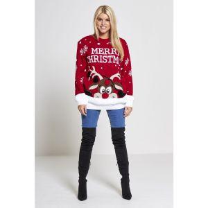 """Rode dames kersttrui met tricot manchetten aan de hals, mouwen en taille. De kersttrui is verder versierd met verschillende zwarte en rode 3D ballen, sneeuw patronen en op de voorzijde met een print van Rudolf en de tekst """"merry christmas""""."""