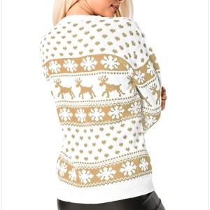 Witte dames kersttrui met gouden Noorse patronen en tricot manchetten aan de hals, mouwen en taille.