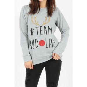 """Grijze dames kersttrui met een rendieren gewei van gouden glitter en de tekst """"#team Rudolph"""" waarvan de """"o"""" een rode glitter neus is."""