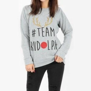 Kersttrui dames glitter met #Team Rudolph opdruk