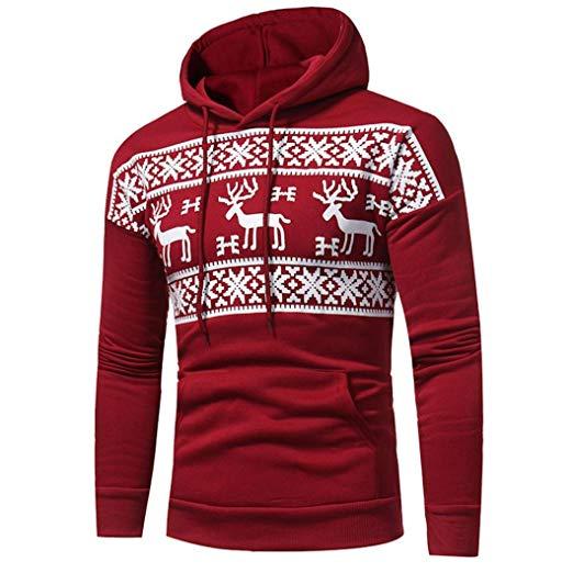 Rode heren kersttrui met capuchon, Noorse patronen en een handige buidelzak aan de voorzijde.