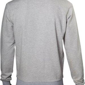 Grijze uniseks kersttrui met blanco grijze achterzijde en tricot manchetten aan de hals, mouwen en taille.