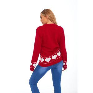 Rode dames kersttrui met tricot manchetten aan de hals mouwen en taille. De kersttrui is aan de achterzijde versierd met witte hartjes rond de taille en mouwen.