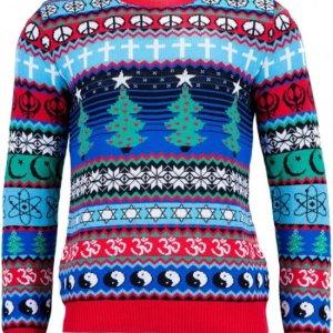 Kleurrijke en religieuze heren kersttrui voorzien van rode tricot manchetten aan de hals, mouwen en taille. De kersttrui is voorzien van verschillende religieuze en culturele symbolen.