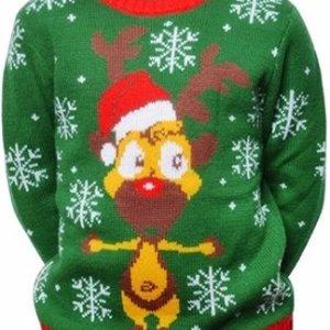 Groene kinder kersttrui met rode tricot manchetten aan de hals, mouwen en taille. De kersttrui is versierd met witte sneeuwsterren en een gele print van Rudolf met kerstmuts aan de voorzijde.