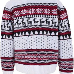 Witte kinder kersttrui met tricot manchetten aan de hals, mouwen en taille. De kersttrui is versierd met Noorse patronen, zoals kerstbomen, rendieren en sneeuwsterren.