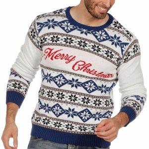 """Witte heren kersttrui met blauwe tricot manchetten aan de hals, mouwen en taille. De kersttrui is versierd met Noorse patronen en met op de borst de tekst """"merry christmas""""."""