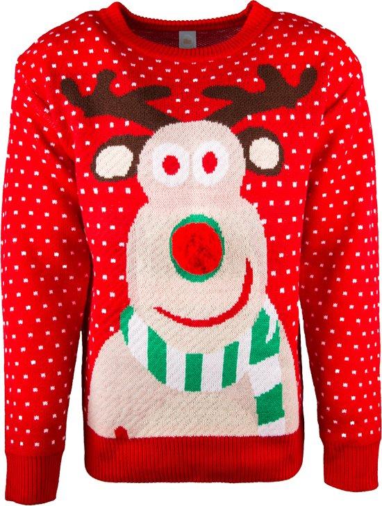 Uniseks Kersttrui.Uniseks Kersttrui Rudolf 3d Neus Kersttruienkopen Nl