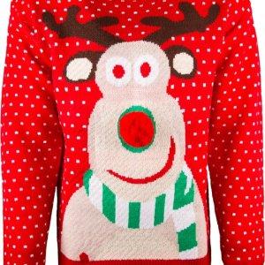 Rode uniseks kersttrui met tricot manchetten aan de hals, mouwen en taille. De kersttrui is versierd met witte stippen en een print van Rudolf op de voorzijde met een rode 3D neus.