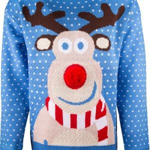 Blauwe uniseks kersttrui met tricot manchetten aan de hals, mouwen en taille. De kersttrui is versierd met witte stippen en een print van Rudolf op de voorzijde met een rode 3D neus.